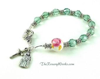 St Therese Rosary Bracelet Chaplet Green Pink Miraculous Medal Single Decade Sacred Heart Good Shepherd Holy Family Spirit Prayer Beads