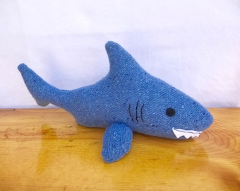 Shark plush softie from recycled materials