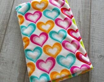 Blanket, minky plush - orange turquoise pink heart