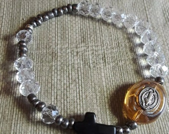 Clear crystal short rosary with Benedictine medal
