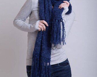Natural Mohair Scarf in Navy Blue