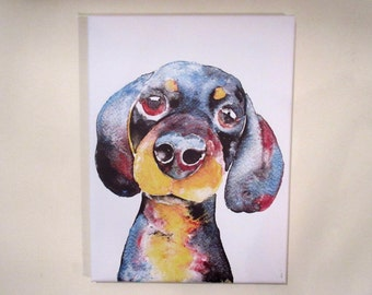 "Dachshund.  Medium canvas print from an original painting by Suzanne Patterson. 16 x 12"". Ready to hang."
