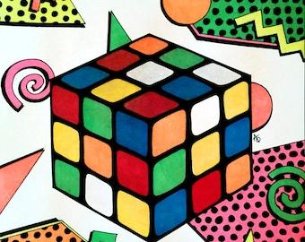 Nostalgia: Rubix Cube - ORIGINAL signed drawing (mat included)