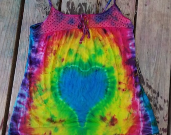 Upcycled rainbow tie dyed tank top