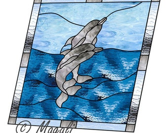 Dolphins stained glass pattern