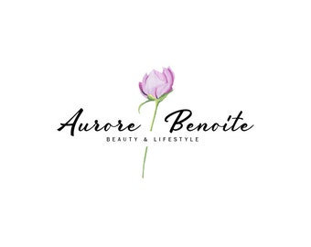 Peony Flower Logo Simple Feminine Logo Blog Logo Design Flower Logo Design