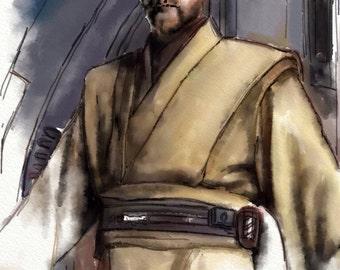 Galactic Heroes:  Obi-Wan - 8x10 Illustration Print