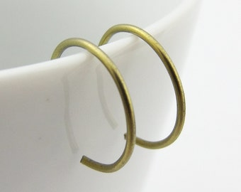 Tiny Golden Yellow Niobium Hoop Earrings, Yellow Backward Hoop Earrings