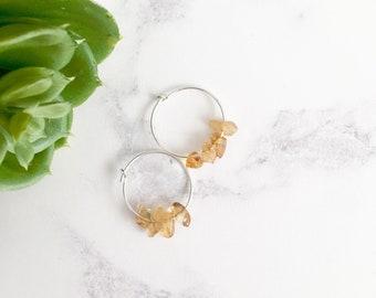 Sterling Silver Citrine Hoop Earrings - November Birthstone Jewellery - Birthday Gift Idea for Her