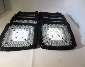 Granny squares, afghan squares, set of ten, white grey and black, any quantity made, solid granny squares, hand made squares, for crafts