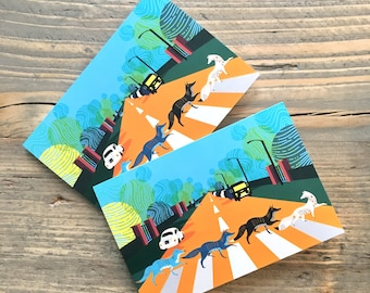Abbey Road Foxes Mini Greeting Cards. A Beatles inspired illustration. A6 size and Free UK shipping