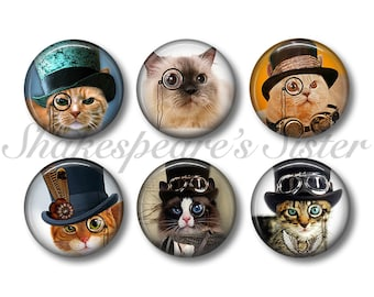 Cat Magnets - Fridge Magnets - Steampunk Cat - 6 Magnets - 1.5 Inch Magnets - Kitchen Magnets