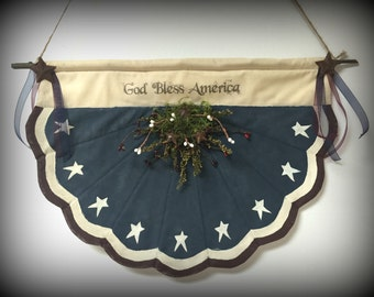 Primitive Flag Bunting | Door or Wall Hanging | Patriotic holiday | Primitive decor | Patriotic decoration | 4th of July decor