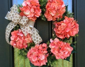 Coral Hydrangea Wreath ~ Summer Wreath ~ Spring Wreath ~ Front Door Wreath ~ Mother's Day ~ Summer Colors Wreath ~ Luxe Hydrangea Wreath