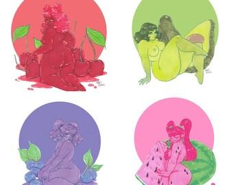 Mini Fruit Babes Print Set 2