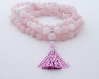 Mala - 108 beads prayer necklace - Hand knotted 12mm rose quartz 108 beads mala
