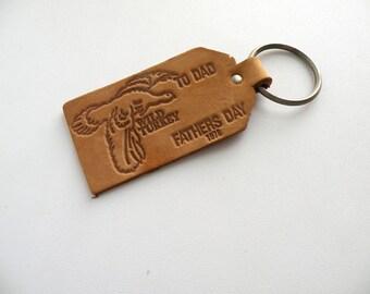 Vintage 70s Leather Key Chain Fathers Day Wild Turkey