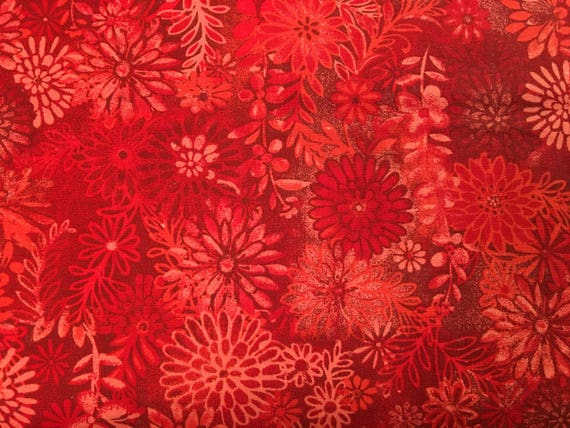 Red Fabric By The Yard Red Floral Fabric By The Yard Bright