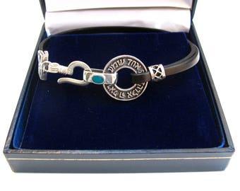 Shema israel prayer bracelet 925 sterling silver amulet leather evil eye bracelet for luck