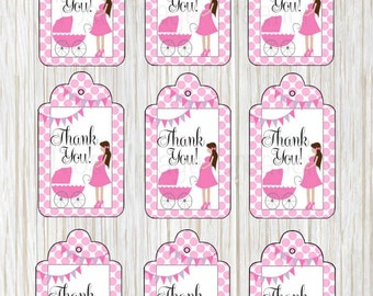 Baby Shower, baby girl, digital Thank you tags, vintage style, birthday party *coupon codes in description*