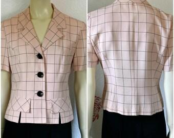 Vintage Pink Jacket | 80s Blazer | Short Sleeve Blazer | Pink Plaid Blazer | Short Sleeve Plaid Jacket | Pink Blazer | Short Sleeve Jacket