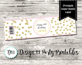 Pink and Glitter Gold Confetti Birthday Party Water Bottle Labels Digital Printable