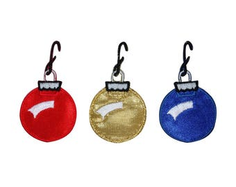 ID 8212ABC Set of 3 Christmas Ornament Patches Bulb Decoration Iron On Applique