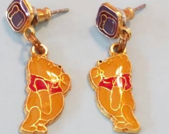 Vintage Disney Winnie the Pooh Enamel Pierced earrings, Disney Winnie the Pooh, Winnie the Pooh