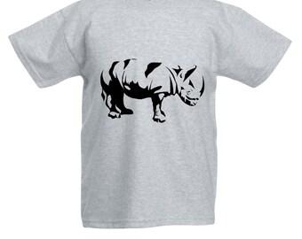 Kids Rhino T-Shirt / Childrens Rhinoceros Zoo Animal T Shirt in Pink, Grey, Light Blue, Yellow, Orange / Ages: 3-4, 5-6, 7-8, 9-11, 12-13