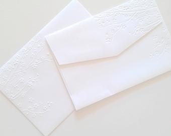 5x7 Envelopes A7, White Wedding Envelopes, Invitation Size Envelopes, Cherry Blossoms, DIY Wedding Stationery, Embossed Stationery, Sakura