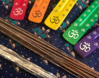 Painted Joss Stick Holder and Set, Ohm Incense Holder, Colourful Incense Gift Set
