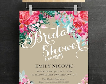 Bridal Shower Invitations, Baby Shower Invitations, Wedding Invitations, Floral, Rustic, Watercolour, Printable, DIY