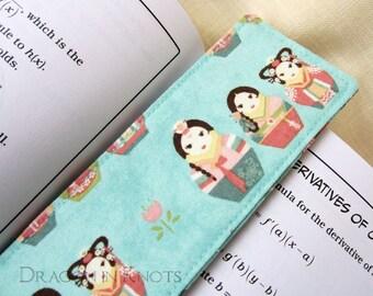 Korean Nesting Doll Fabric Bookmark - matryoshka wearing traditional hanbok dress on light blue, South Korea, kawaii reading accessory