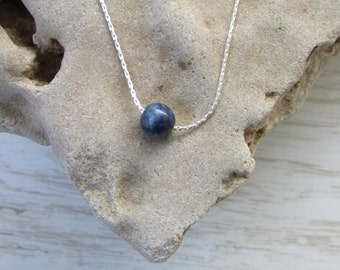Lapis Necklace, Lapis lazuli Necklace, Beaded Necklace, Sterling Silver Minimalist Necklace with Lapis Gemstone, Tiny Bead Necklace
