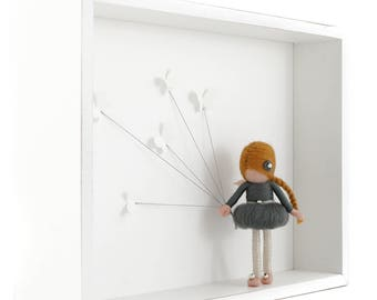 Needle felted fairy doll in shadow box - BUTTERFLY FAIRY - grey