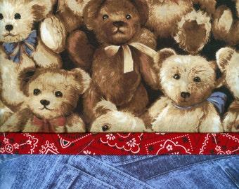 Teddy Bear n Denim Jeans Pillowcase, handmade bandana toddler boy girl baby,  20 x 30