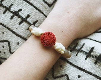 Red lotus and buddha bracelet