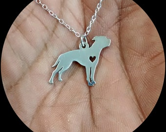 American Bulldog Necklace - Engraving Pendant - Sterling Silver Jewelry - Gold Jewelry - Rose Gold Jewelry - Personalized Dog Jewelry- Gift