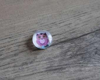 1 cabochon clear 10mm owls pink