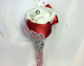 White Rose BOUTONNIERE-Red Wedding Grooms Flower-Mans Lapel-Rose Boutonniere-RED WEDDING-Lapel Flower-Boutonniere-Prom Flower-Red Prom-