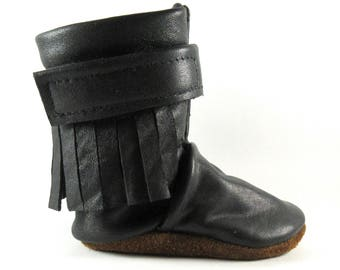 0 to 6 Month, Soft Sole, Black, Reclaimed Leather, Baby Boots, High Top Moccasins