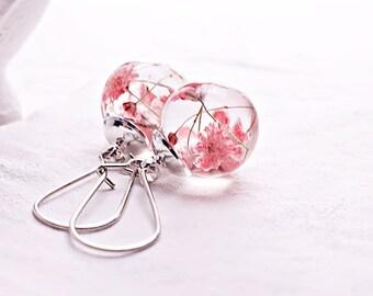 Real flower earrings Pink flower glass globe drop earrings Terrarium Botanical Nature earring Real flower jewelry gift for her
