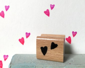 Little hearts  - mini rubberstamp - 20x20mm