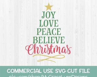 Joy Love Peace Believe Christmas - SVG Cut File