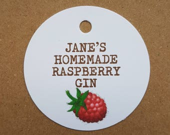 10x Personalised Homemade raspberry gin tags, handmade tags, bottle tags, vintage labels, gift tags, homemade raspberry tags, homemade gin