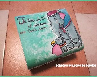"Casket/Jewel Door/Beauty Case in hand painted wood with acrylics themed ""Dumbo"""