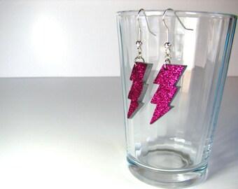 Hot pink lightning bolt glitter hook earrings