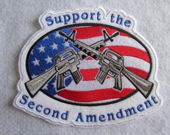 Large Embroidered Gun Patch, Second Amendment Patch, Iron On Gun Patch, Iron On Second Amendment Patch
