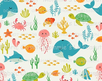 Half Yards Sea Life Cotton/ Lycra Jersey Knit Mommie's Lil Peanut Custom fabric sewing apparel MLP-1503