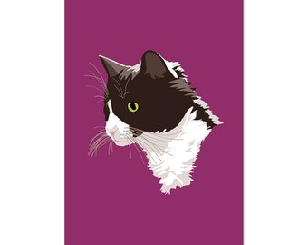 Tuxedo Cat, art print 5x7 Animal Art Digital Art, illustration, home decor, Nursery, wall art, postcard